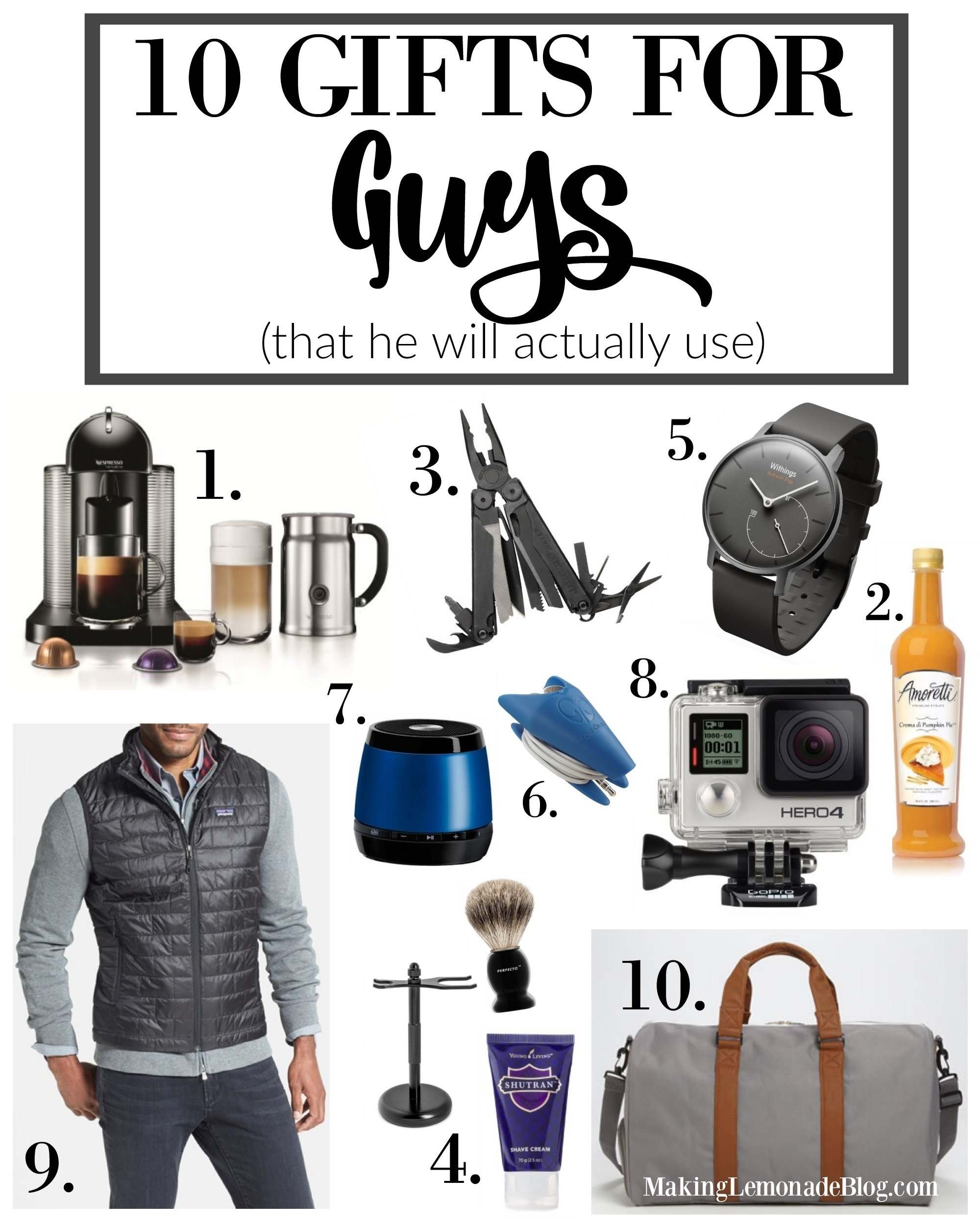 10 best gifts for guys (that he'll actually use) | making lemonade