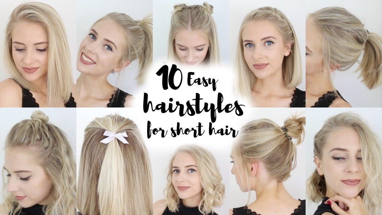 10 Elegant Cute Ideas For Short Hair 10 easy hairstyles for short hair youtube 1