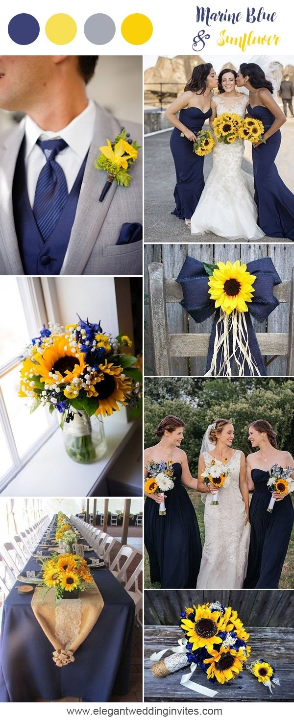 10 Gorgeous Navy Blue And Yellow Wedding Ideas