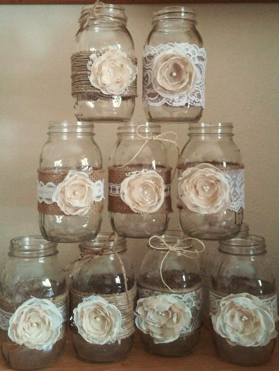 10 Stylish Mason Jar Wedding Centerpiece Ideas 10 shabby chic mason jar sleeves rustic wedding centerpieces 2020