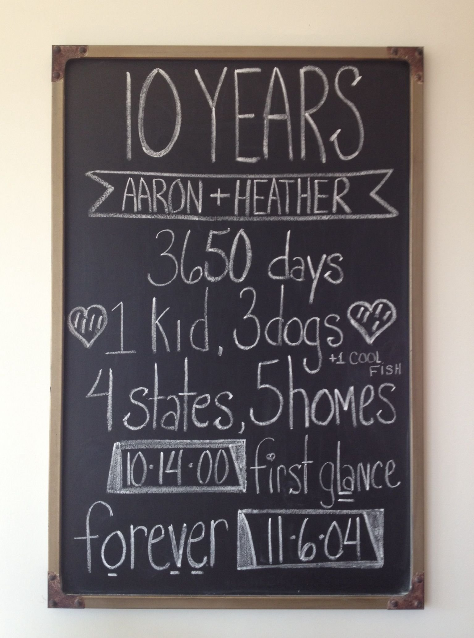 10 year anniversary chalkboard | chalk it up | pinterest