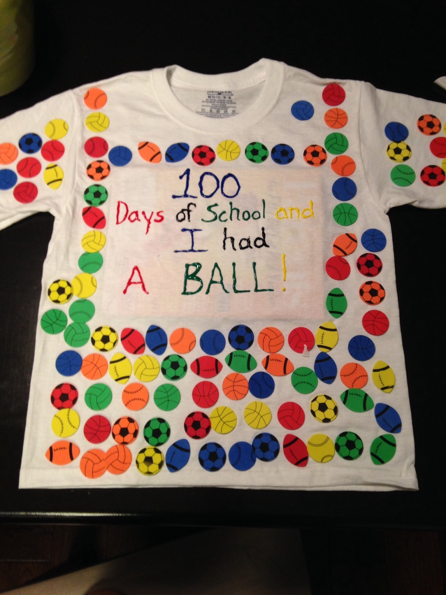 100 day of school t shirt. foam stickers. | school stuff | pinterest