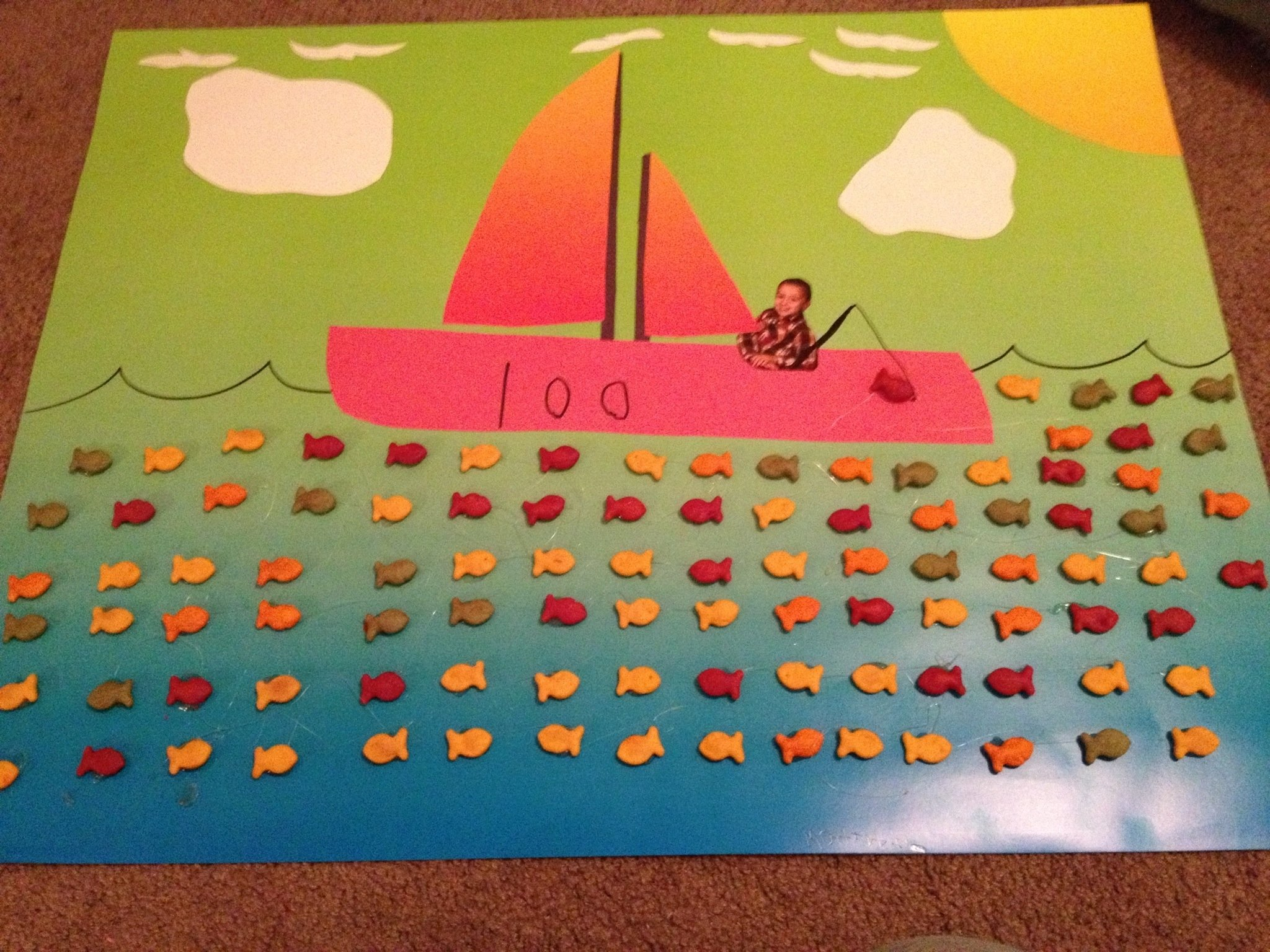 100th day of school project using goldfish and adding my son onto