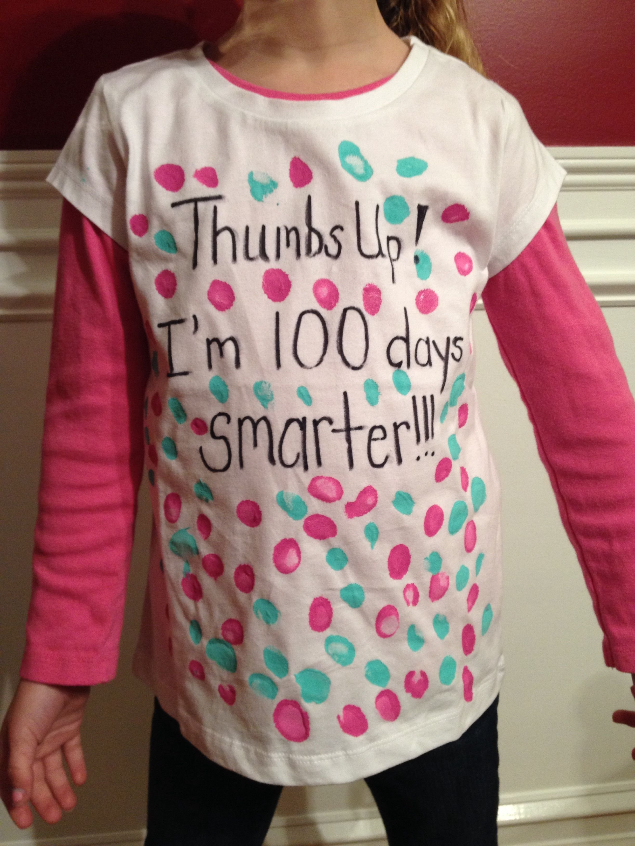 100th day of school shirt idea. super easy. my daughter enjoyed