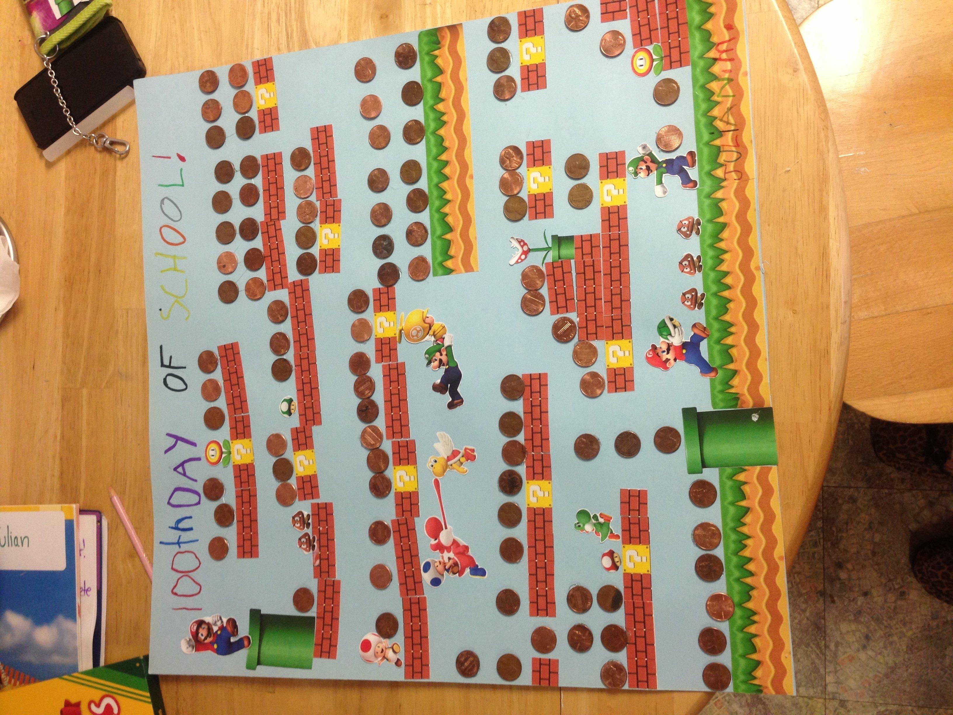 10 Perfect 100 Days Of School Poster Ideas 100th day of school super mario bros kids pinterest super 1