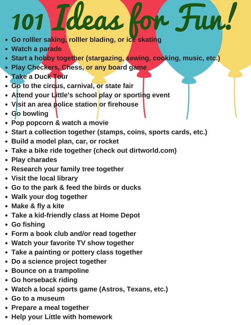 10 Famous Ideas For Things To Do 101 ideas for fun gulf coast big brothers big sisters 2020