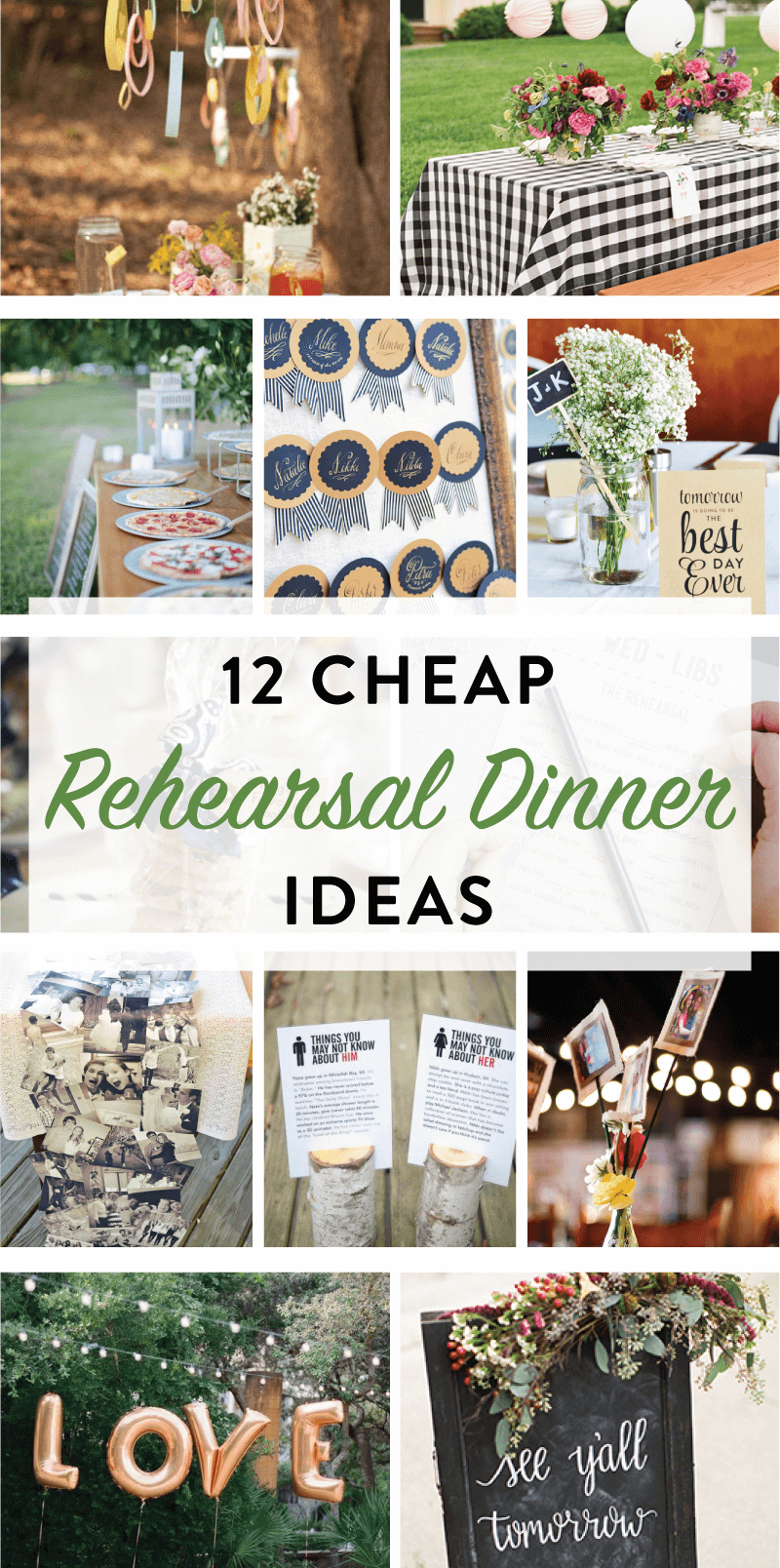 10 Awesome Rehearsal Dinner Table Decorations Ideas 12 cheap rehearsal dinner ideas for the modern bride on love the day 3 2020