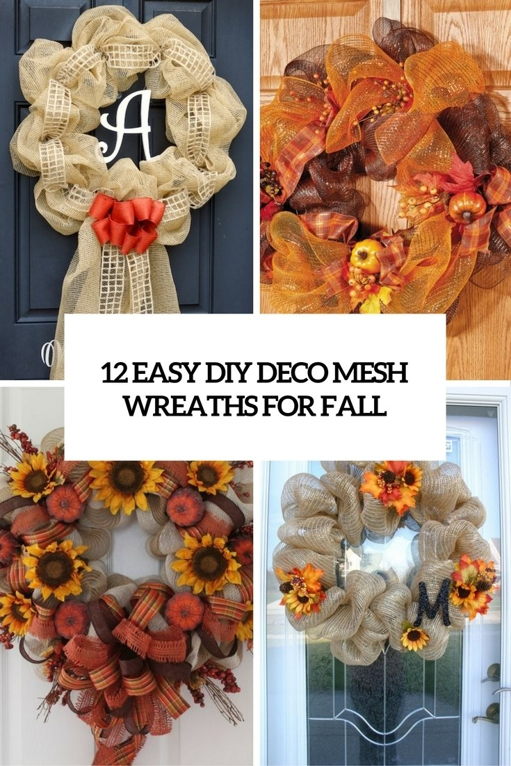 10 Fantastic Fall Wreath Ideas With Deco Mesh 12 easy diy deco mesh wreaths for fall shelterness 2