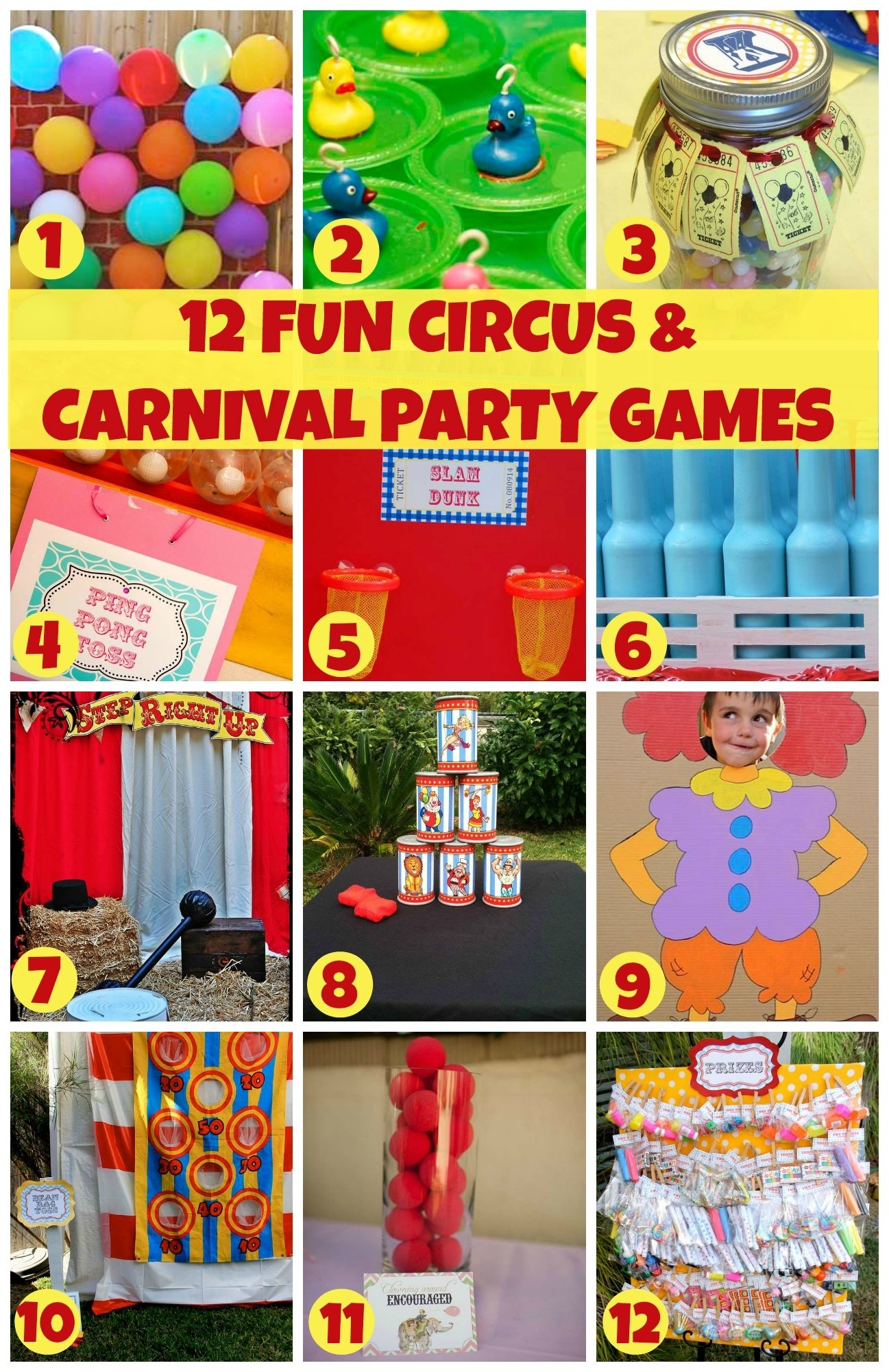 12 fun circus carnival party games | catch my party