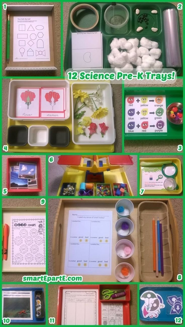 12 science preschool trays! | trays, preschool science and preschool