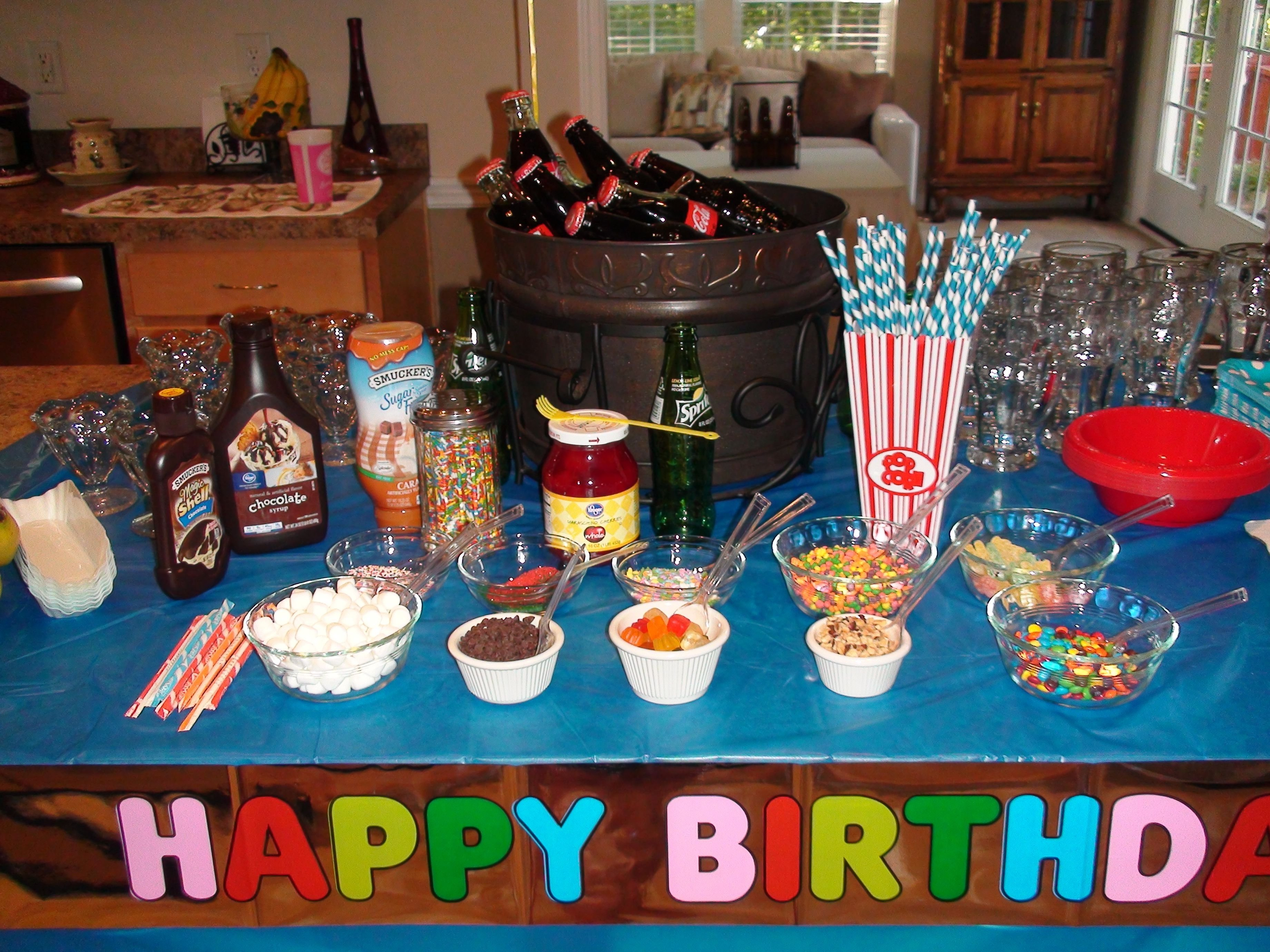 12 year old party, root beer floats, banana splits, ice cream with