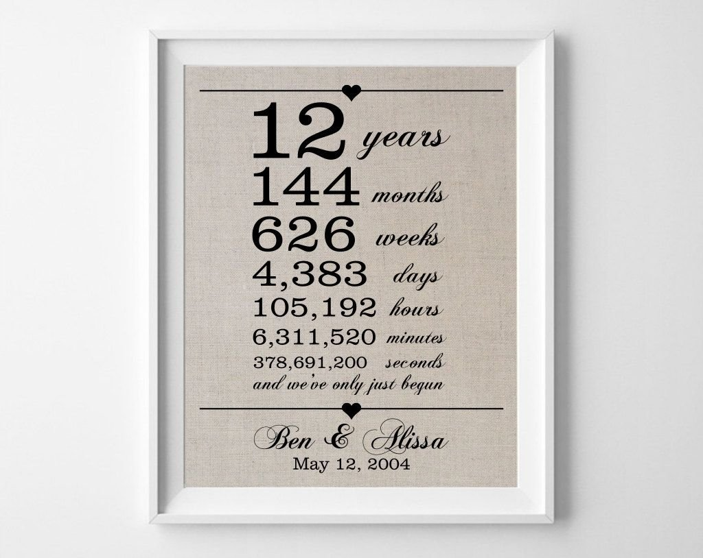 12 years together - linen anniversary print | 12th anniversary gifts