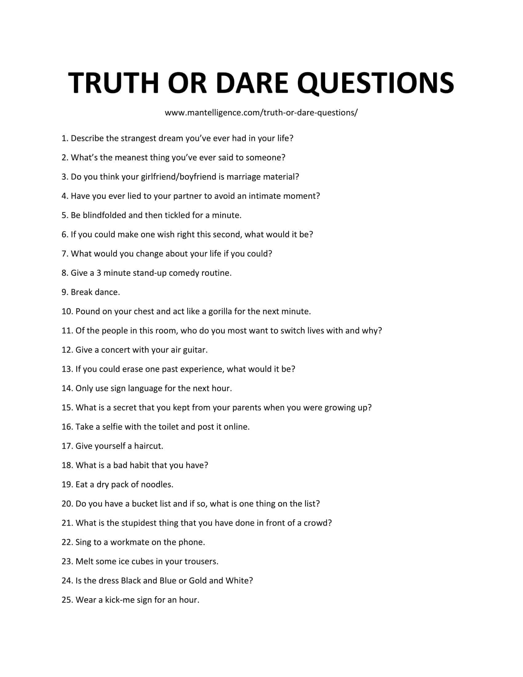 10 Fashionable Extreme Truth Or Dare Ideas 124 really good truth or dare questions the only list youll need 2 2021