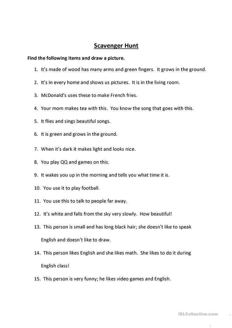10 Amazing Funny Scavenger Hunt Ideas For Adults 16 free esl scavenger hunt worksheets 3 2021
