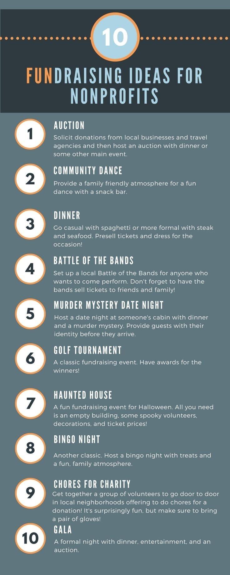 10 Trendy Fun Fundraising Ideas For High School 17 unique fundraising ideas infographic philanthropy pinterest 2 2020
