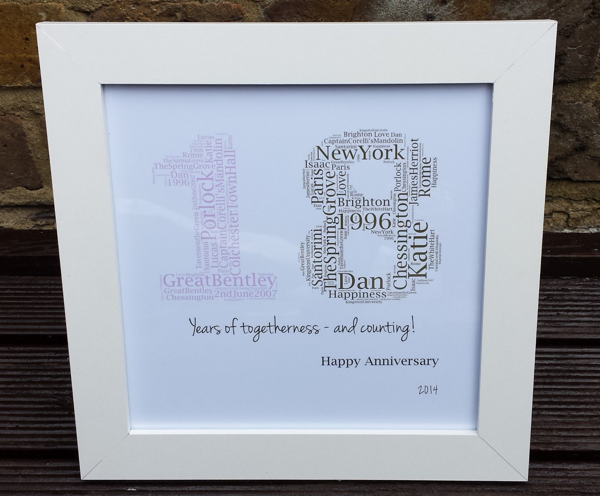 10 Lovable 2Nd Anniversary Gift Ideas For Her 18 years together as one word art wedding anniversary gift diy