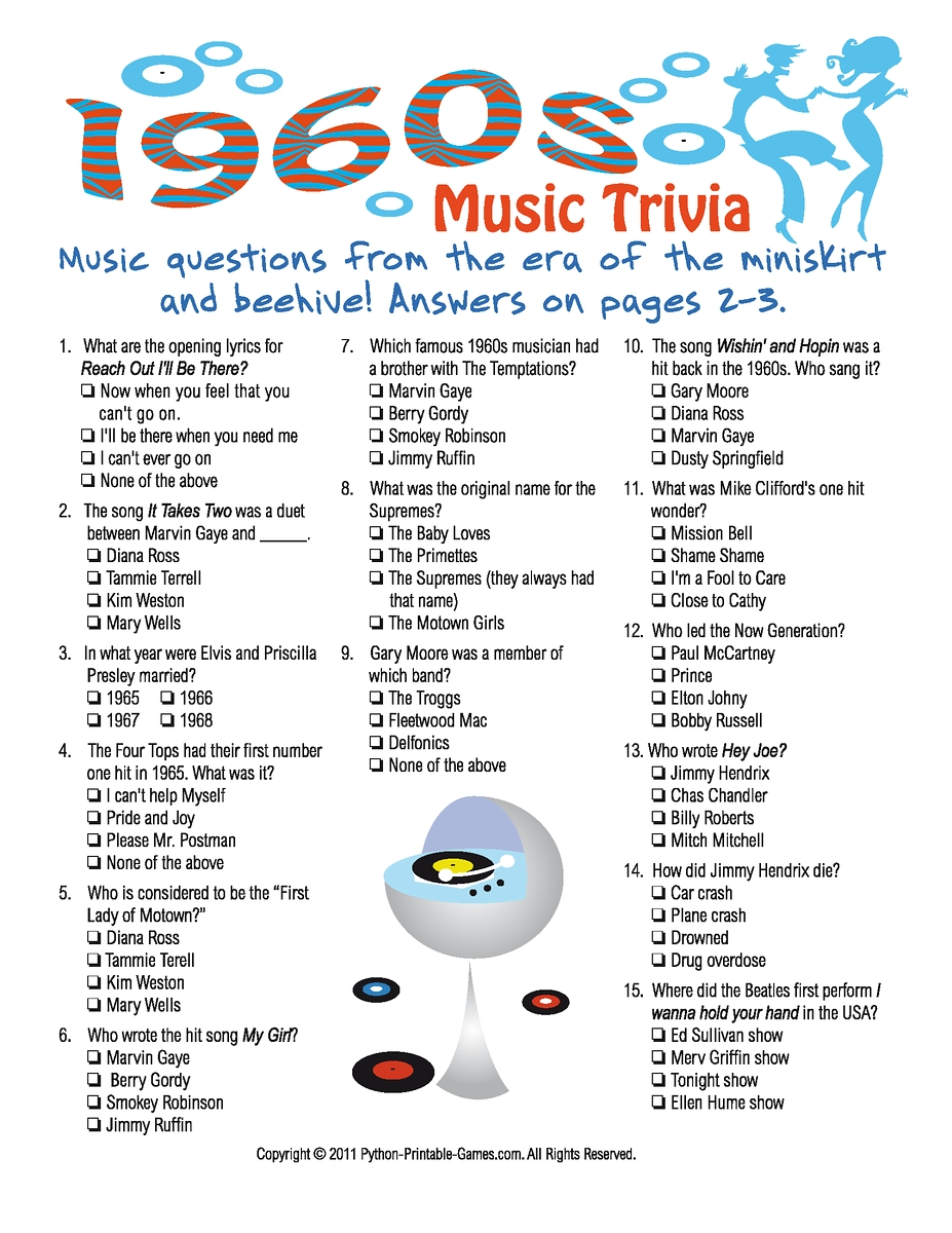 10 Fashionable 50Th Birthday Party Game Ideas 1960s Music Trivia 50s 60s Rock N Roll