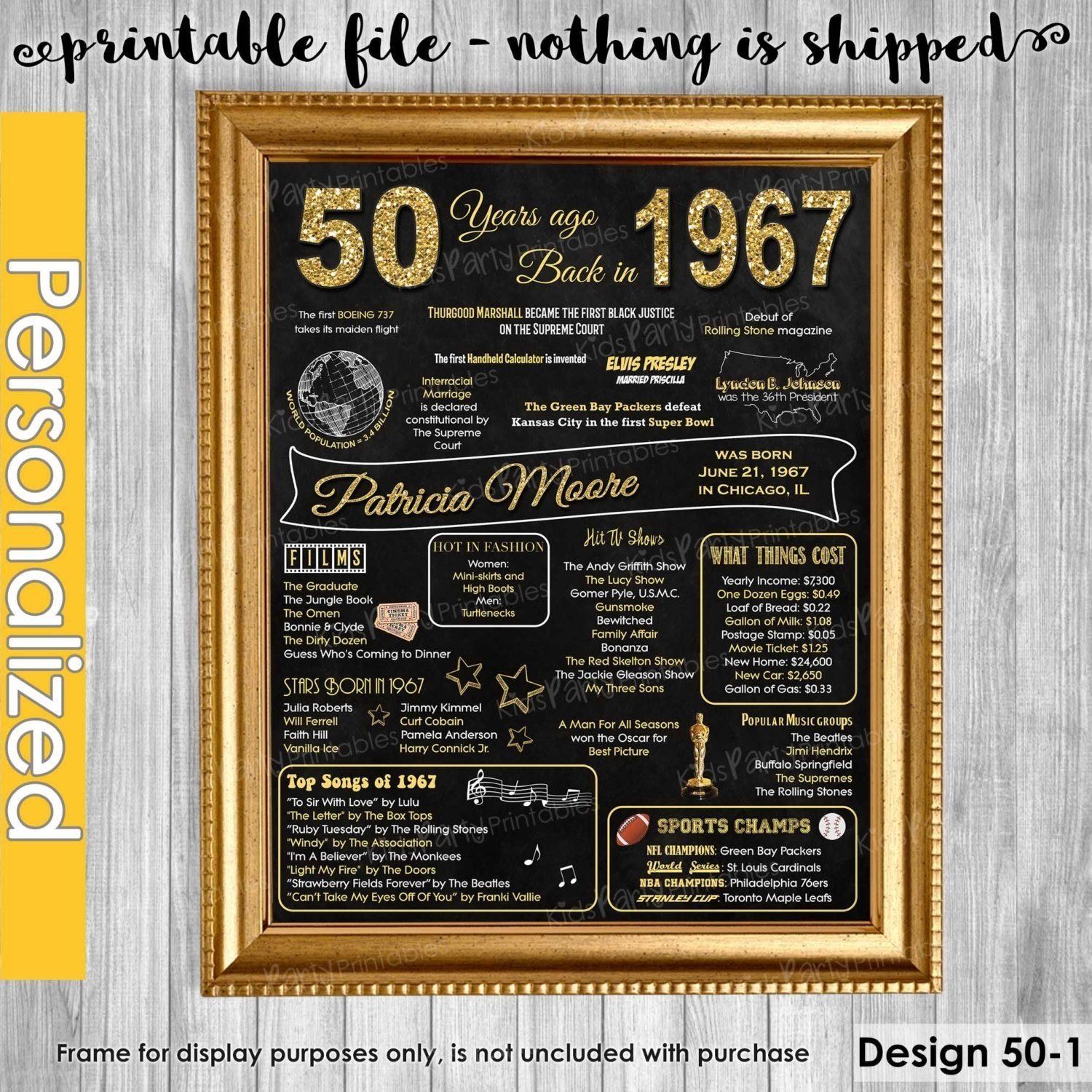 10 Spectacular Great 50Th Birthday Gift Ideas 1967 50th Chalkboard Sign Poster Our Personalized 3