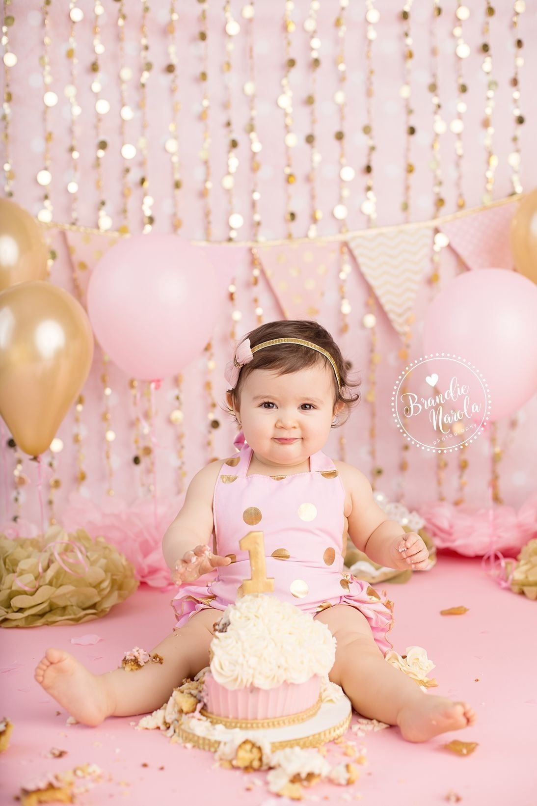 10 Lovely First Birthday Photo Shoot Ideas 1st birthday photos pink and gold 1st birthday first birthday cake 2 2020