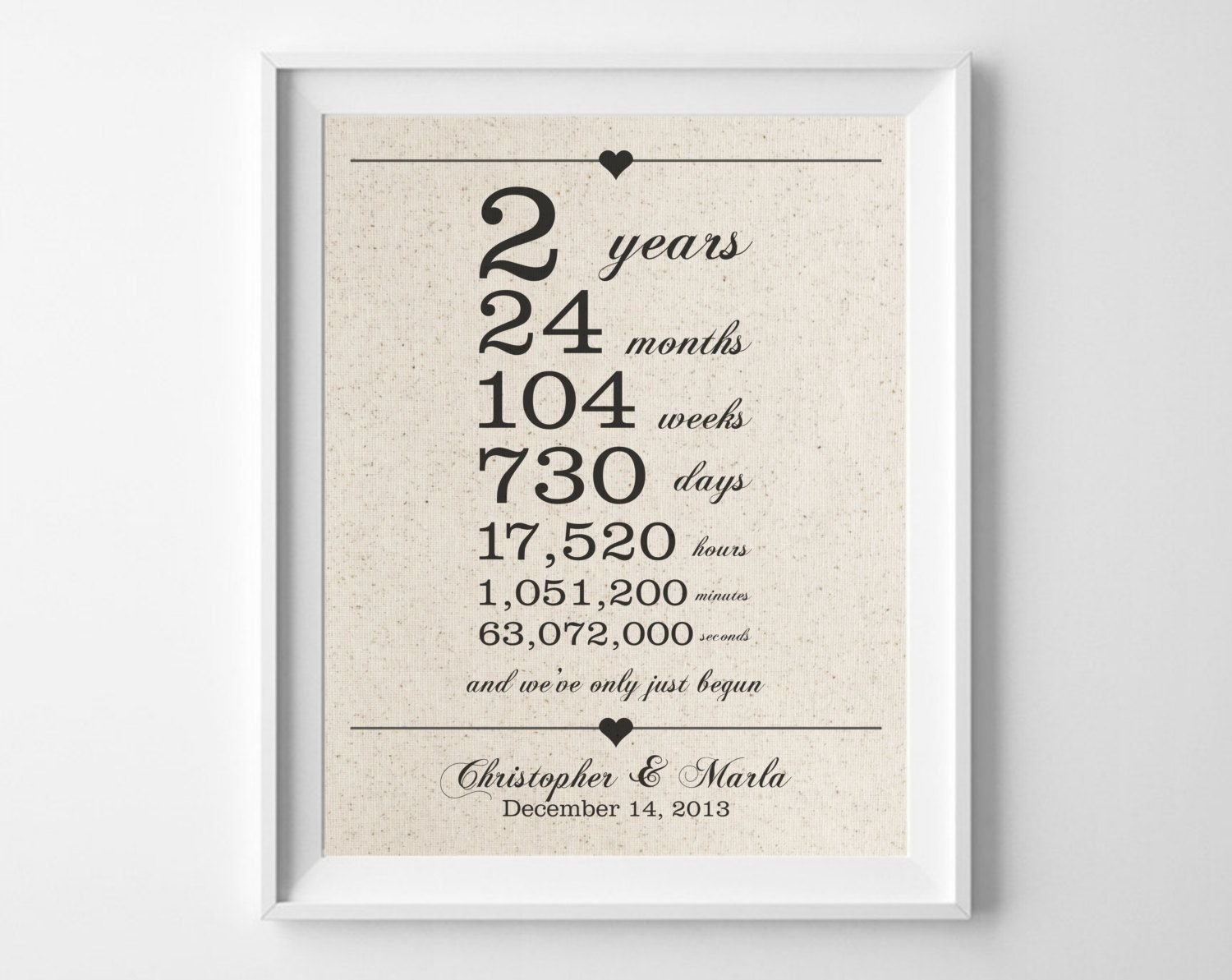 2 years together | cotton anniversary print | 2nd anniversary | days