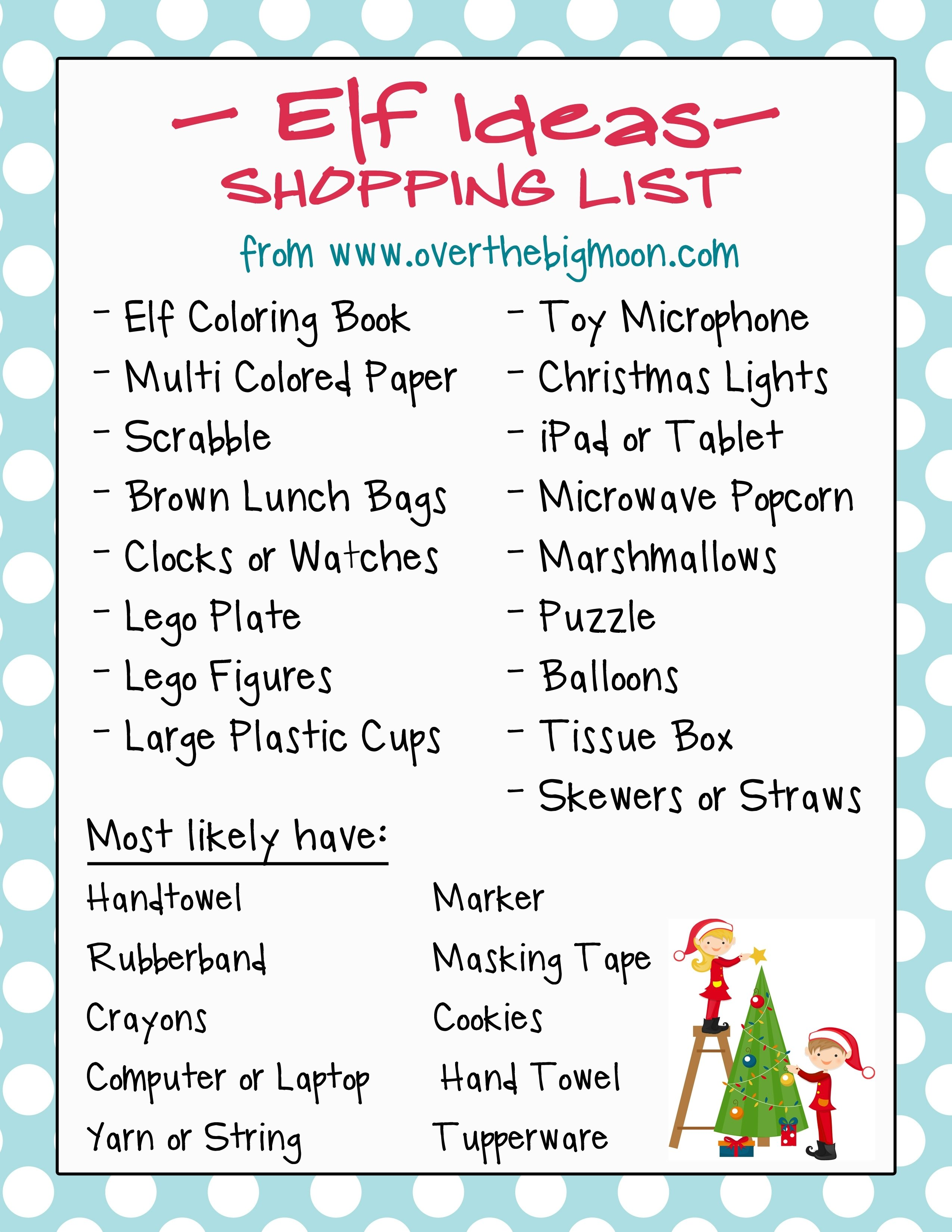 10 Elegant Elf On The Shelf Names Ideas 20 elf on the shelf ideas with shopping list and daily planner