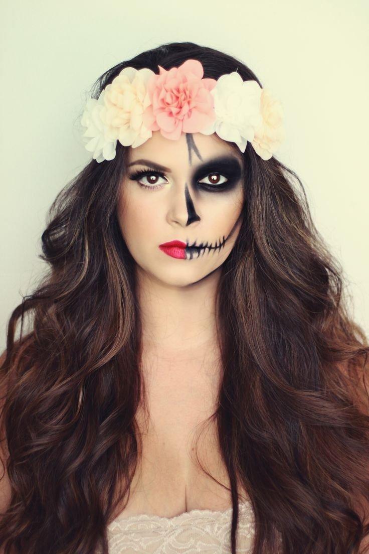 10 Fashionable Face Makeup Ideas For Halloween 20 half face halloween makeup ideas that look real half face 2021