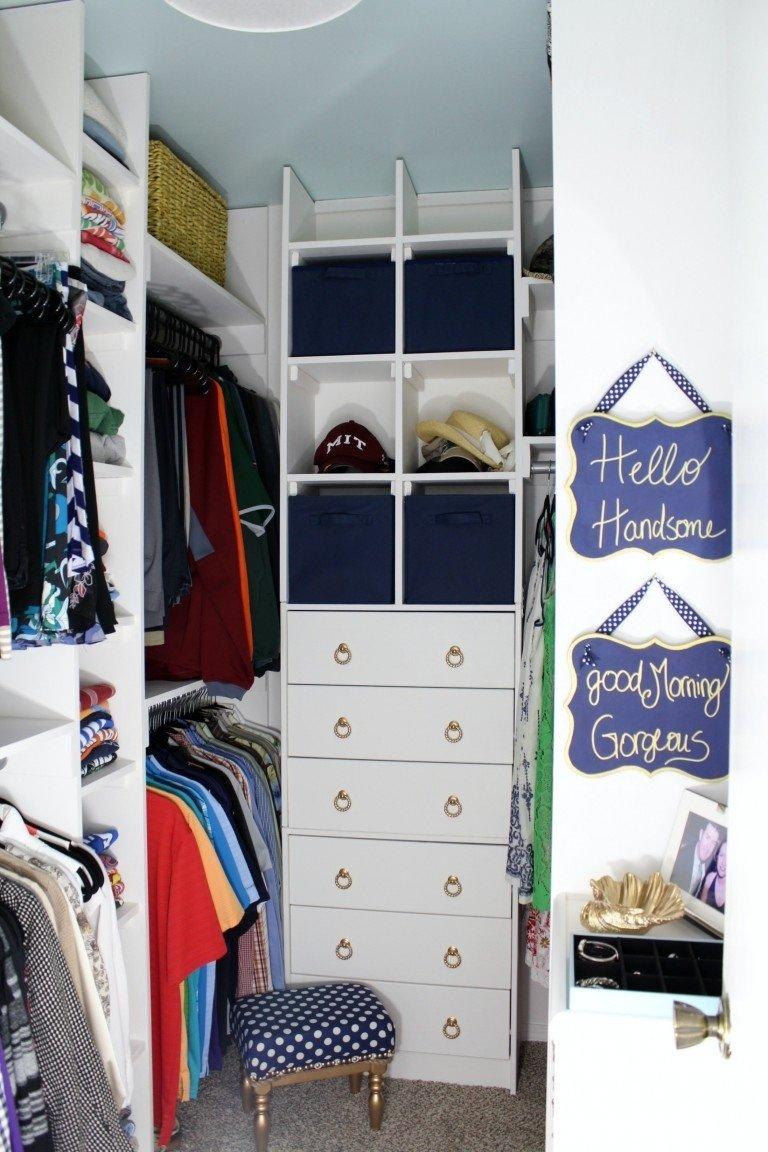 10 Stylish Small Walk In Closet Ideas 20 incredible small walk in closet ideas makeovers the happy housie 4 2021