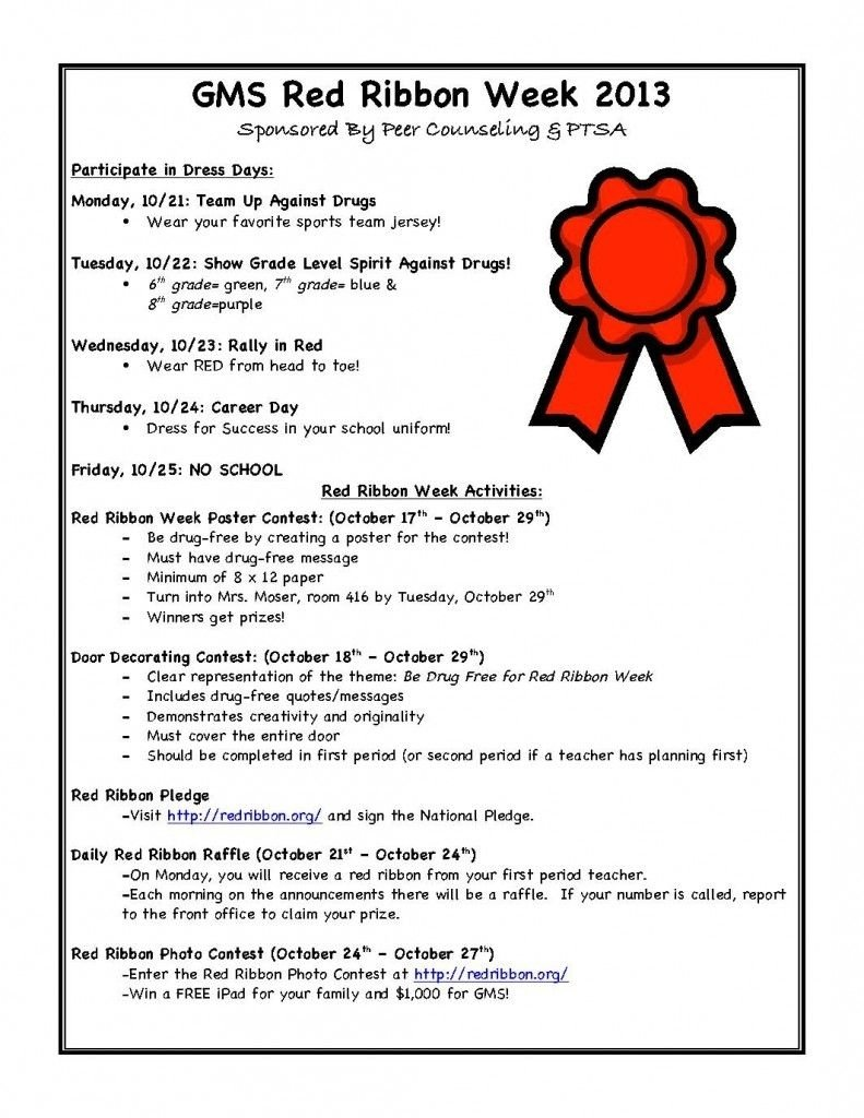 10 Lovable Red Ribbon Week Ideas For Elementary School 2013 red ribbon week see flyer for activities sponsoredpeer 2020