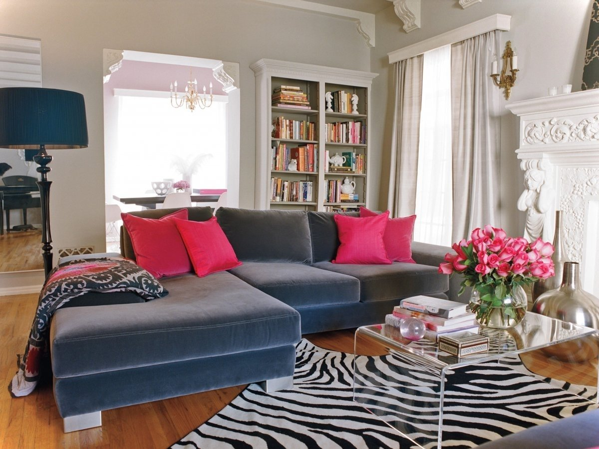 10 Lovely Animal Print Living Room Ideas 2014 luxury living room design with navy blue coach and zebra rug 2020