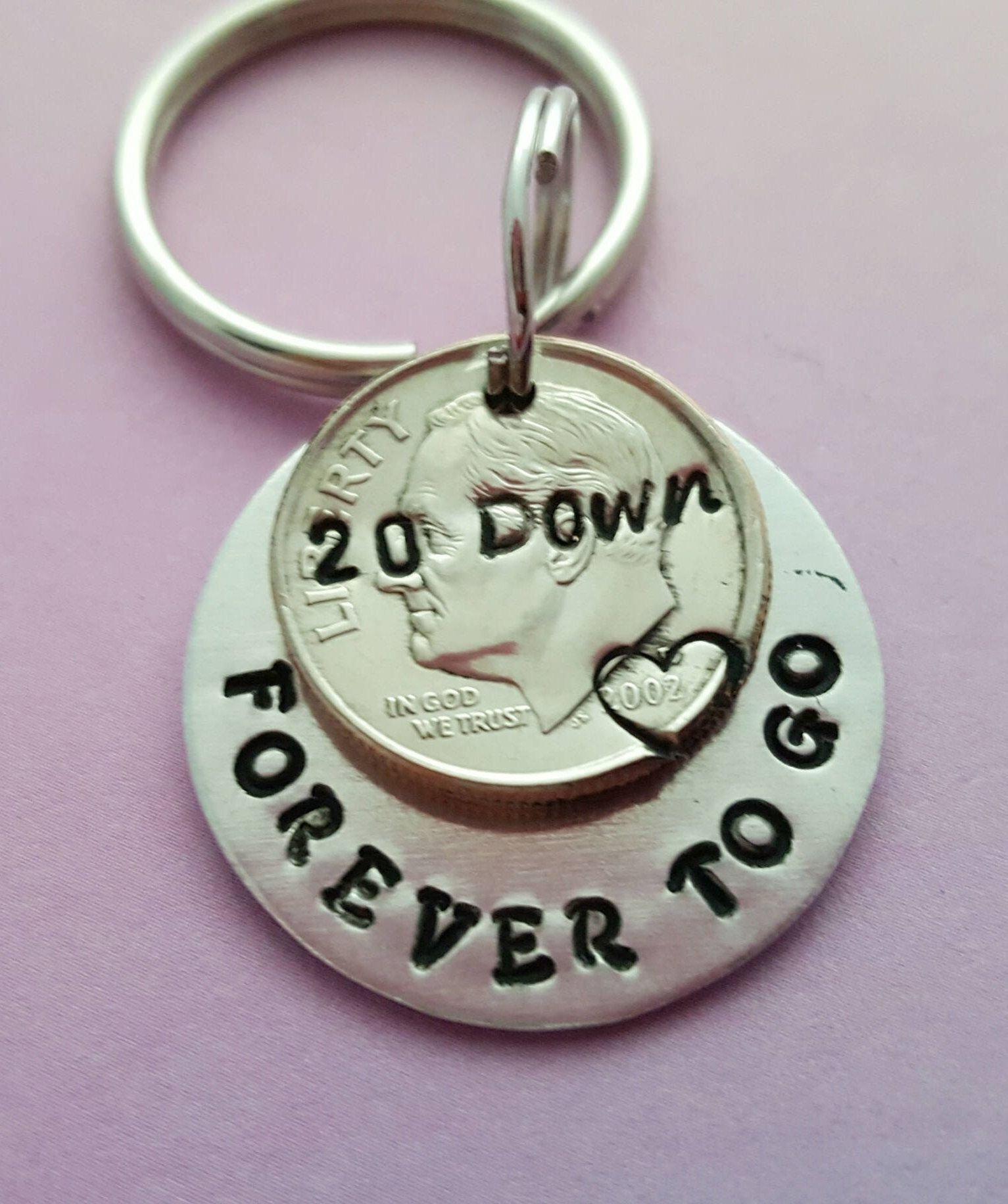 20th anniversary gift idea, 20 year wedding anniversary keychain