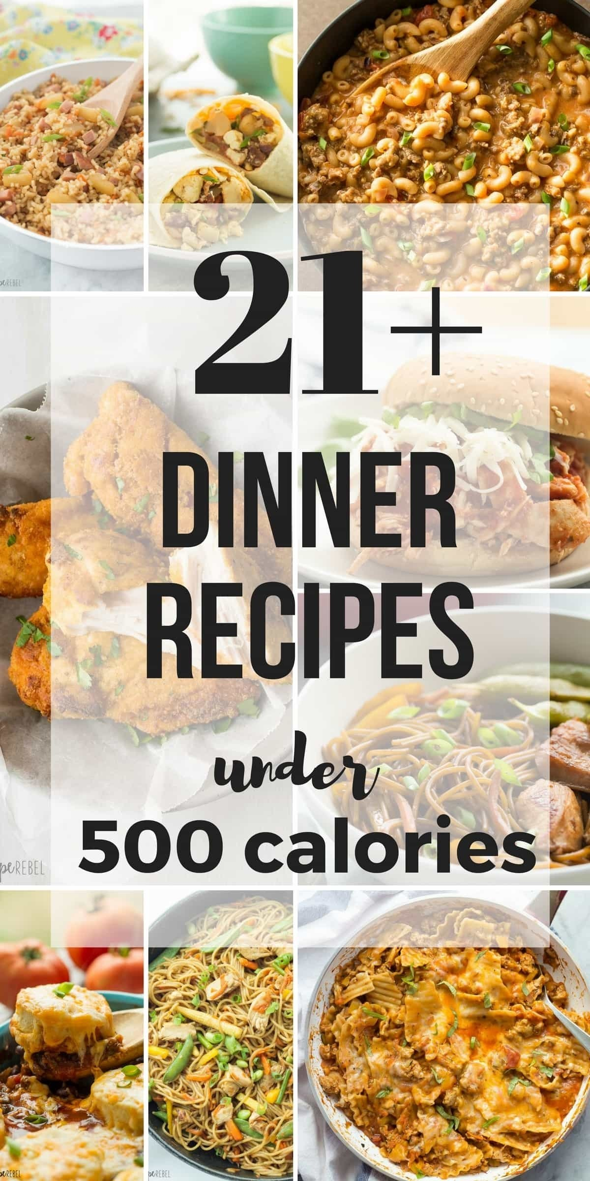 21+ dinner recipes under 500 calories