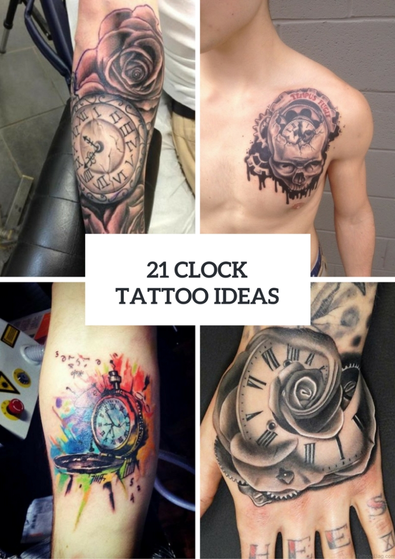 10 Elegant Ideas For Tattoos For Men 21 gorgeous clock tattoo ideas for men styleoholic 2021