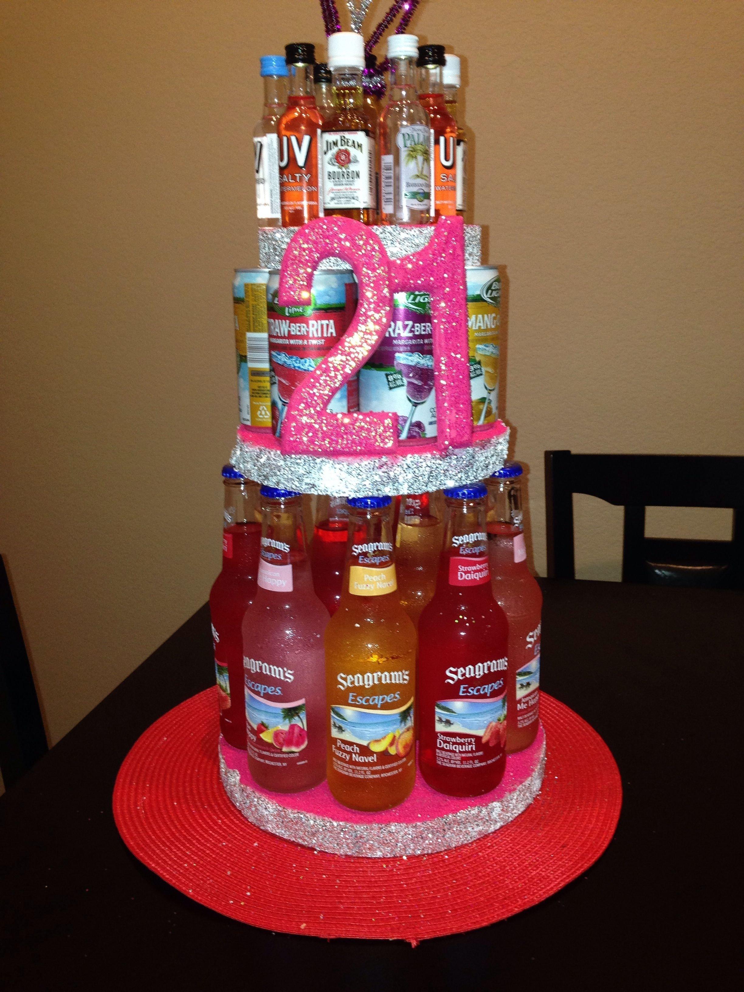 10 Spectacular 21St Birthday Ideas For Girls 21st alcohol birthday cake diy pinterest alcohol birthday cake 2021