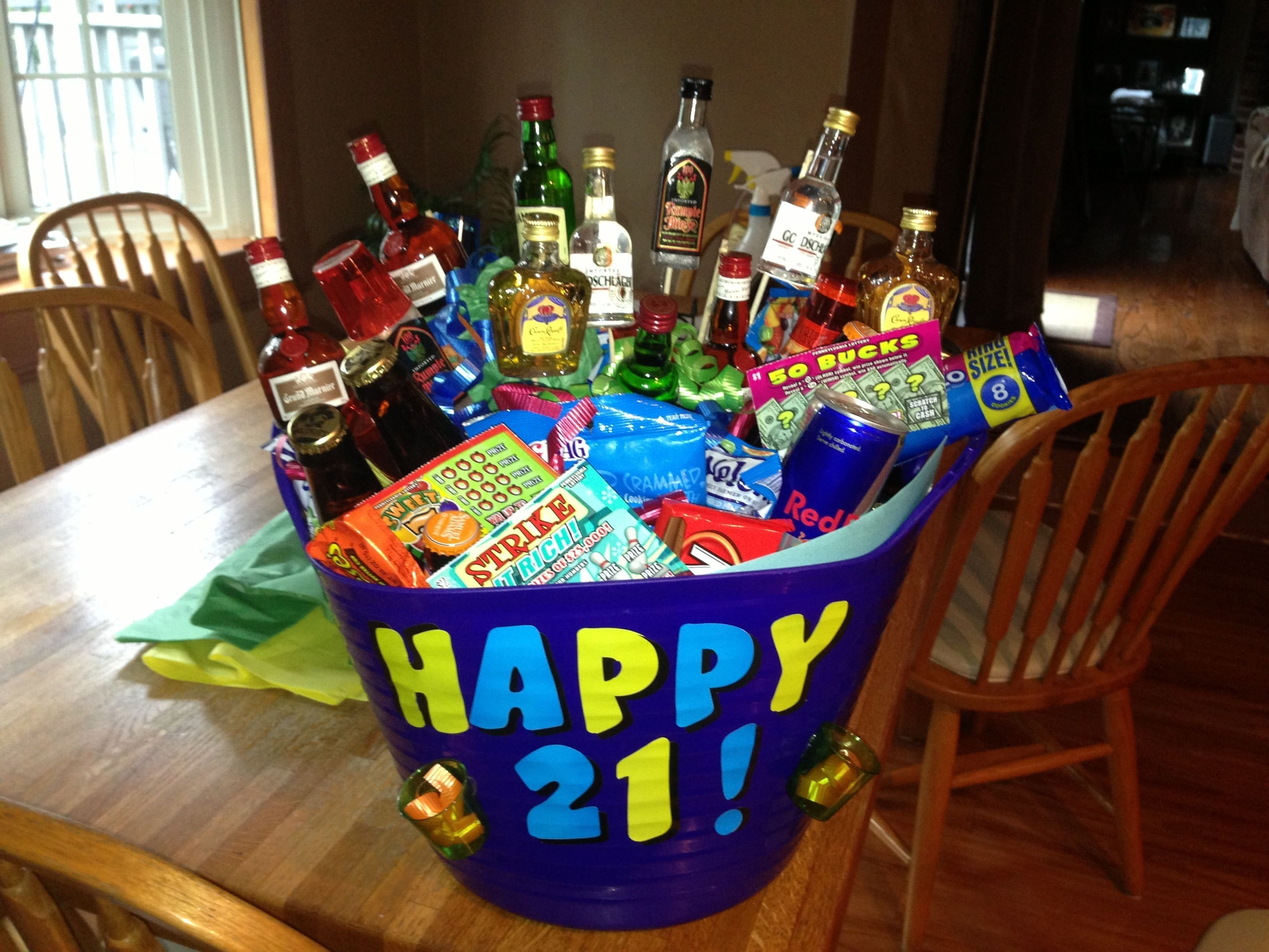 10 Lovable 21St Birthday Gift Ideas For Boyfriend 21st birthday basket for boyfriend crafty pinterest 21st 2020