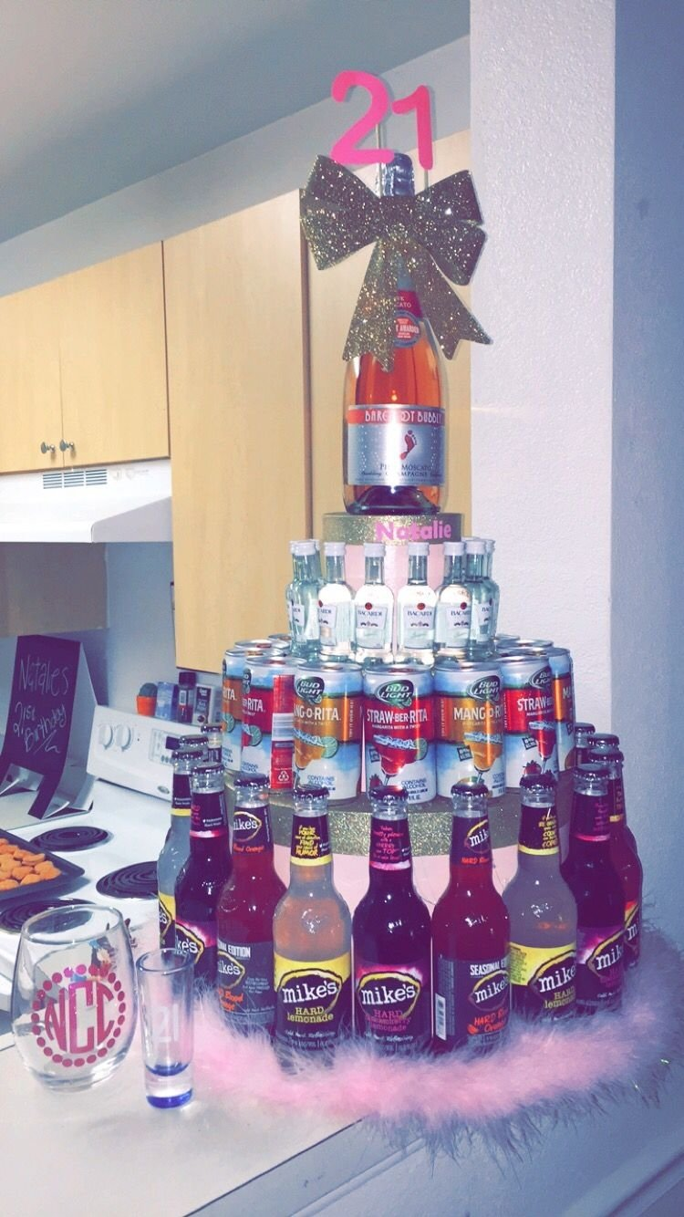 10 Perfect 21 Birthday Ideas For Her 21st birthday ideas for your bestfriend mini bottle cake gifts 3 2021