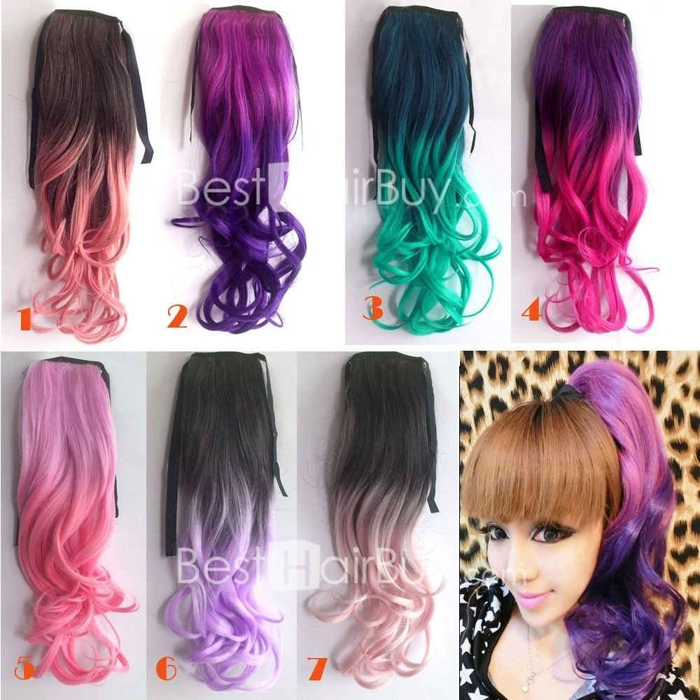 10 Unique Pink And Black Hair Ideas 24 inch ombre colorful ponytail body wavy black light purple 1 piece