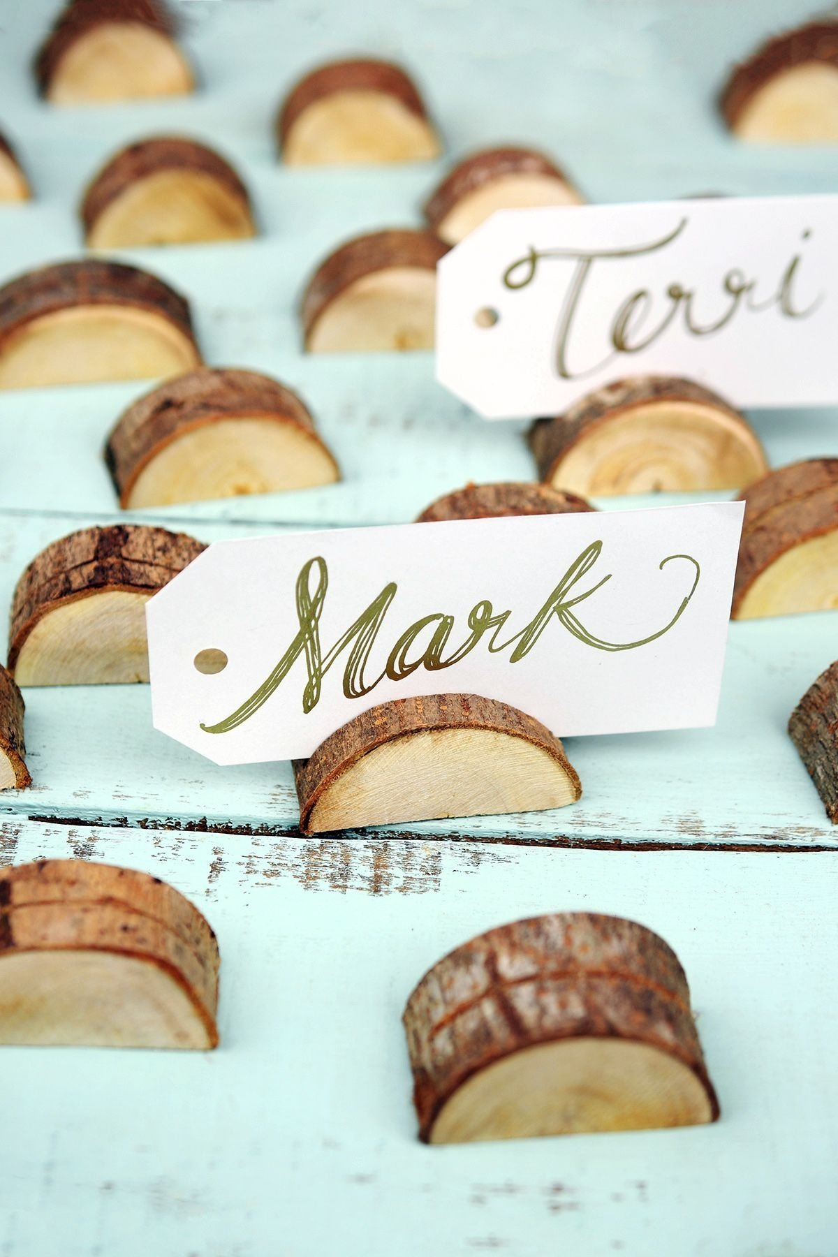 10 Attractive Place Card Ideas For Wedding 24 wood place card holders with bark 2 inch place card woods and 2021