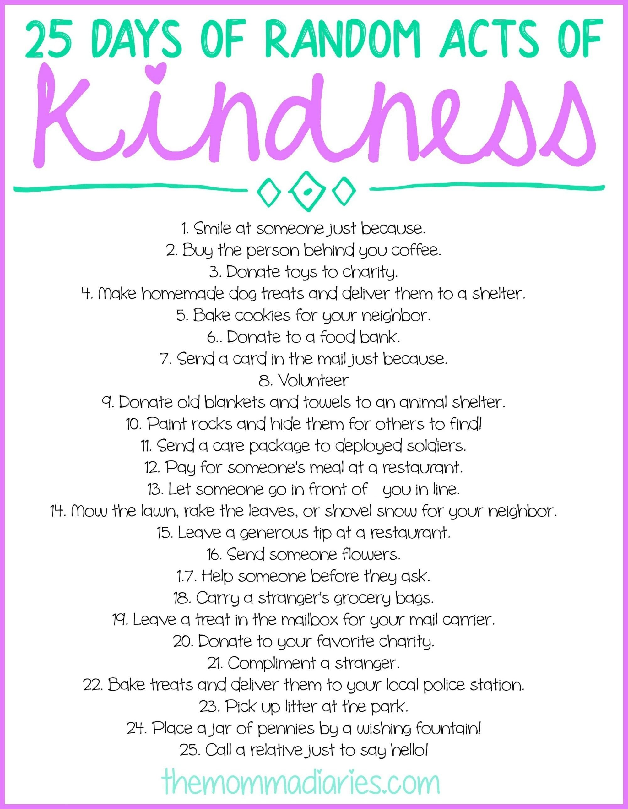 10 Famous Random Act Of Kindness Ideas 25 days of random acts of kindness free printables random free 2 2020