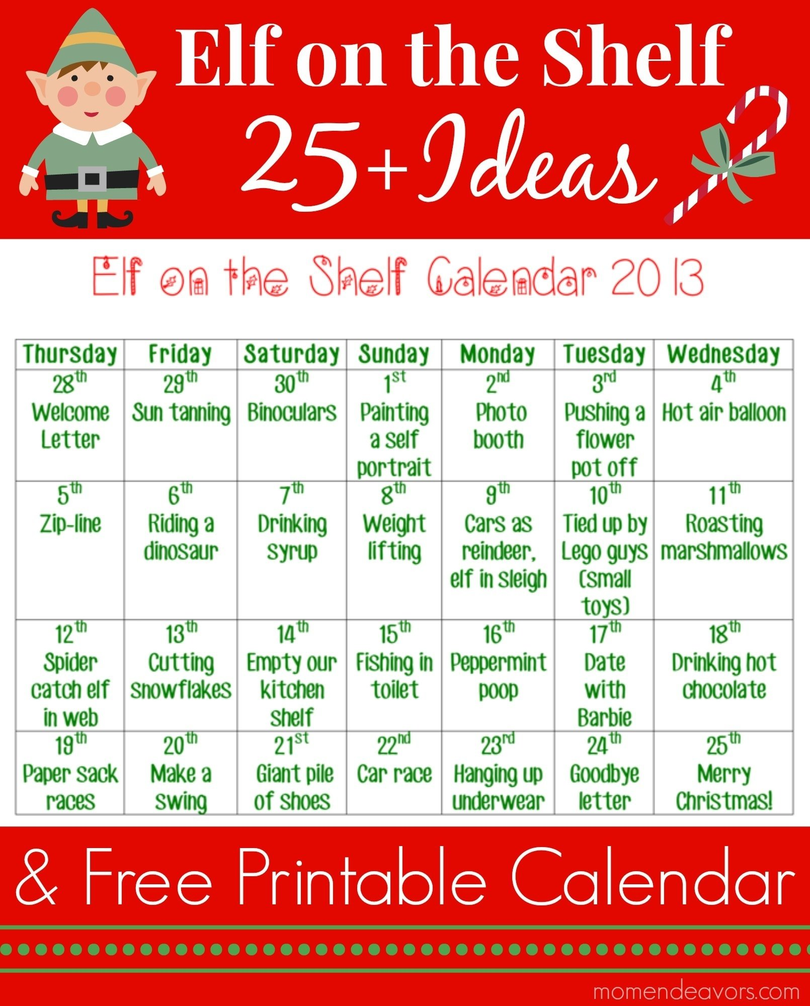 25+ elf on the shelf ideas with printable calendar (+ an