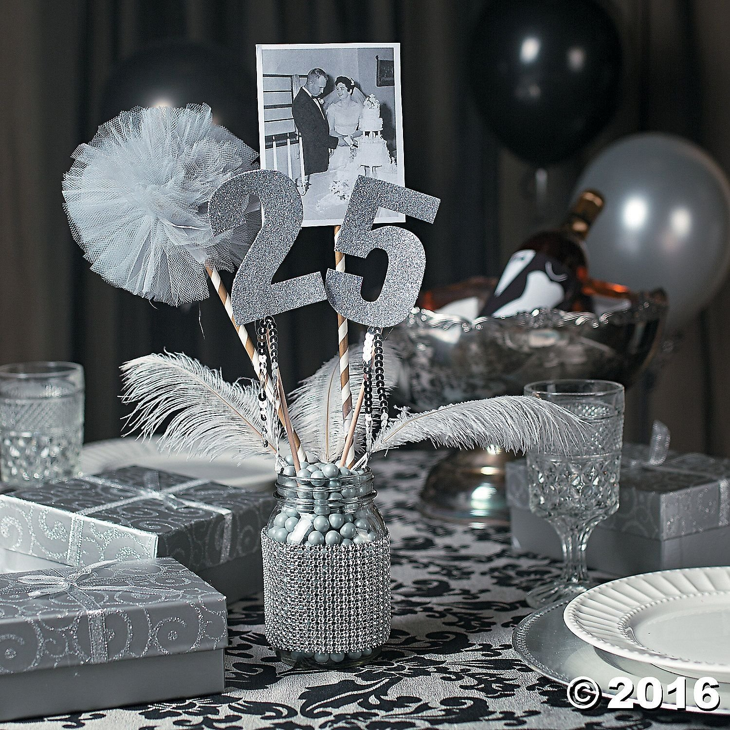 25th anniversary party mason jar centerpiece idea - orientaltrading