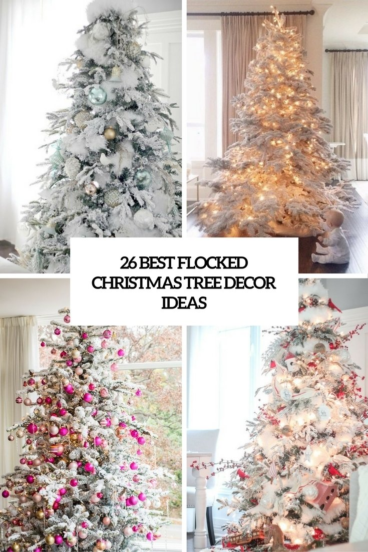 26 best flocked christmas tree décor ideas - digsdigs