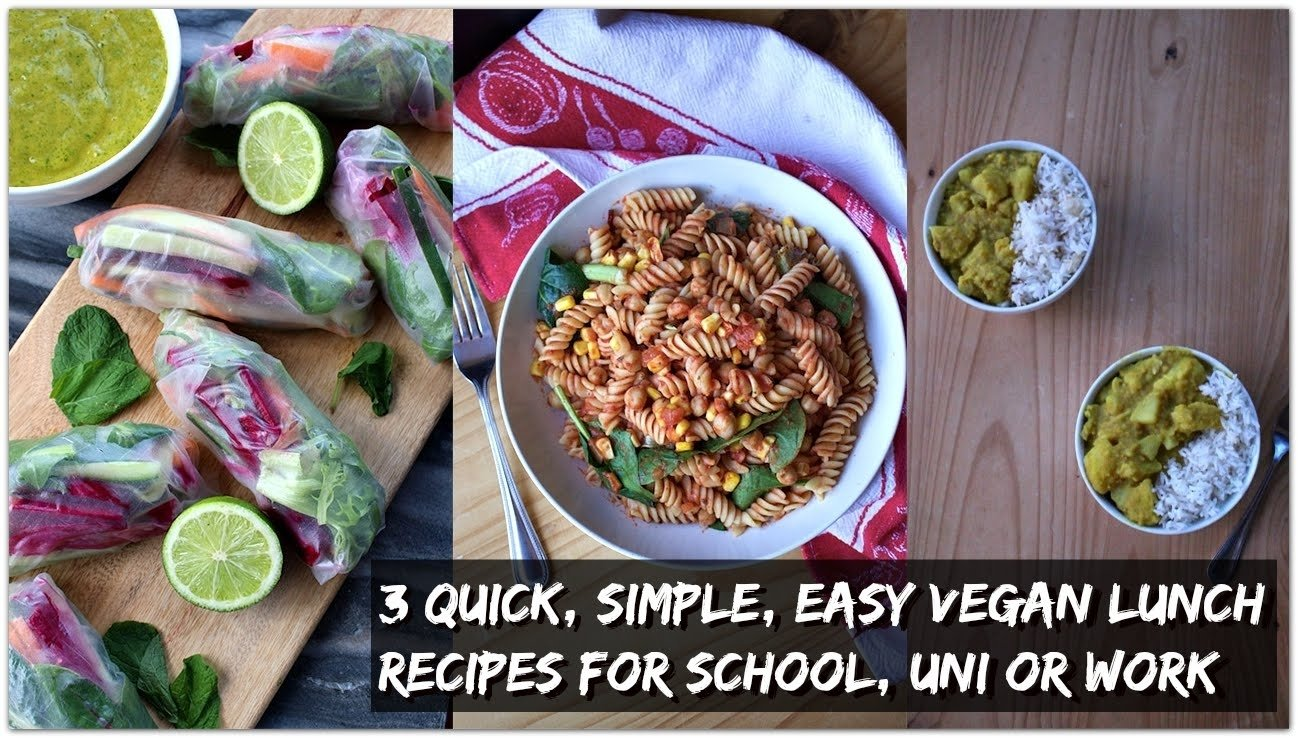 3 quick, easy, low fat vegan lunch ideas | school, uni, work - youtube