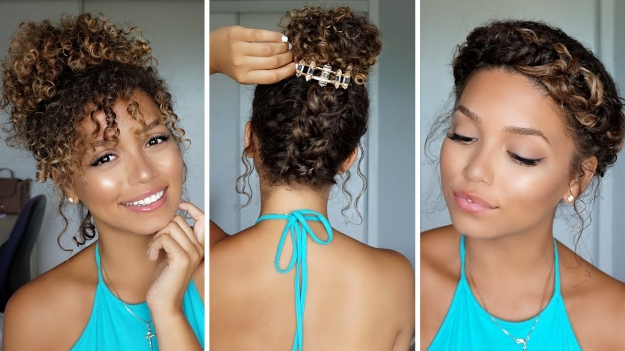 3 summer hairstyles for curly hair   ashley bloomfield - youtube
