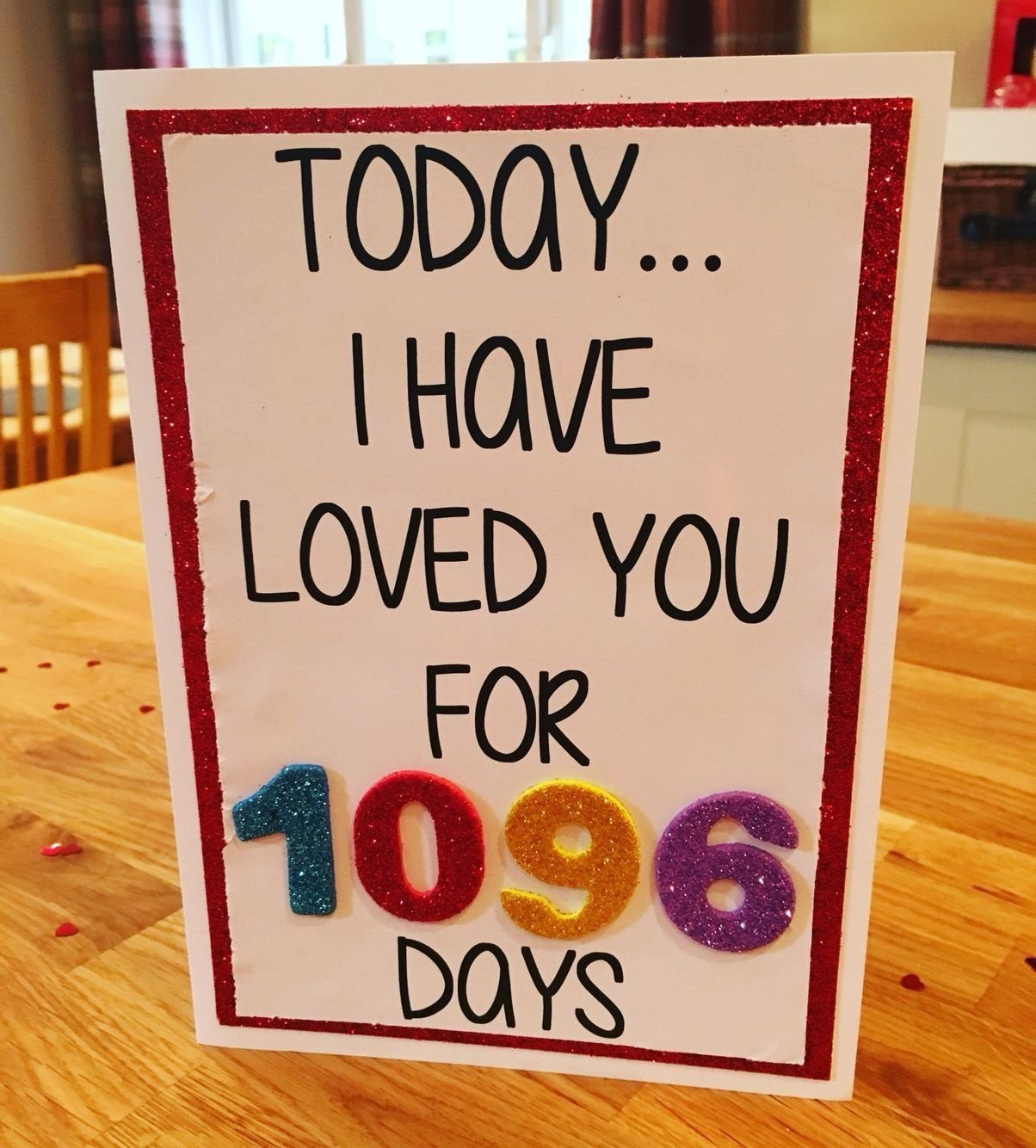 10 Famous Three Year Anniversary Gift Ideas For Him 3 year anniversary card today i have loved you for 1096 days x 2 2020