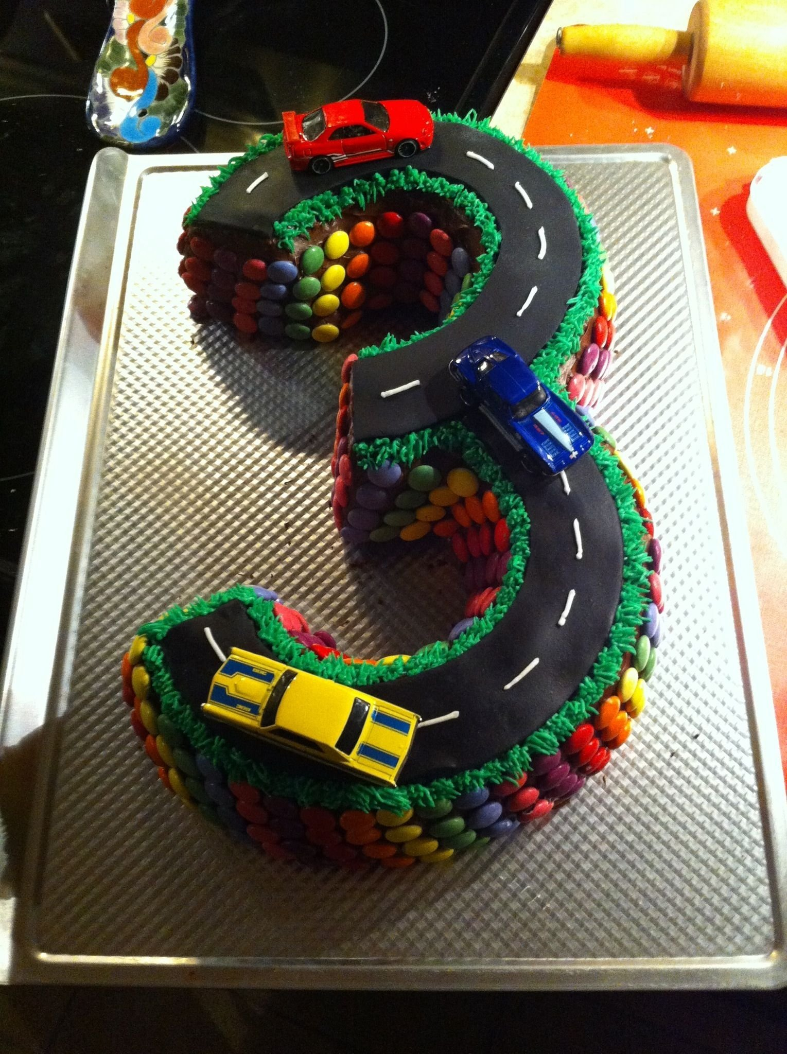 3 year old boy birthday cake, if anyone wants to make this let me