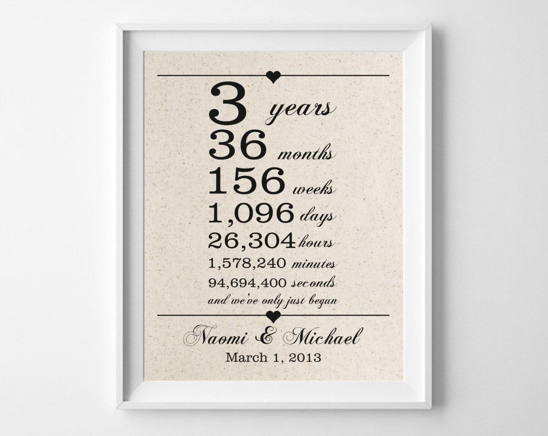 10 Elegant Third Wedding Anniversary Gift Ideas 3 years together cotton anniversary print 3rd anniversary days 1