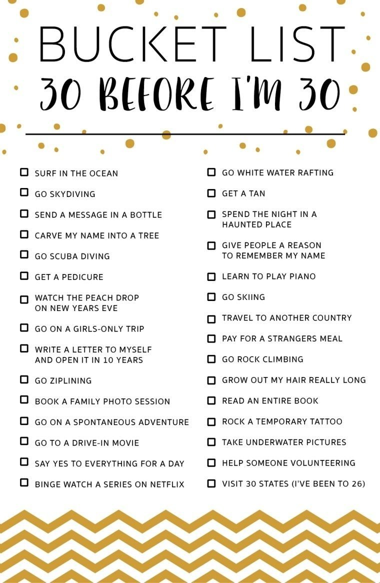 10 Spectacular Bucket List Ideas Before You Die 30 before im 30 bucket list bucket list pinterest buckets 2021