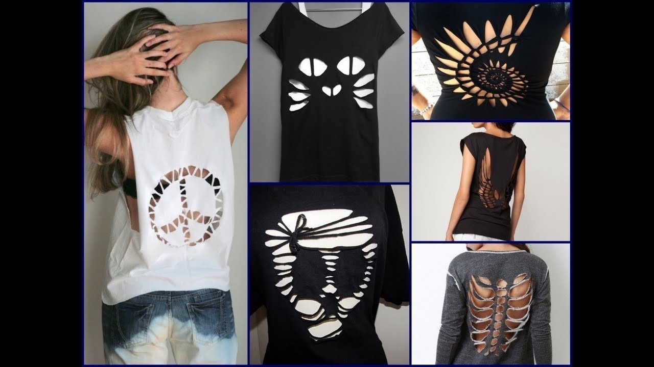 10 Lovely Ideas For Cutting T Shirts 30 best diy t shirt cutting ideas for girls diy clothes life hacks 2 2020