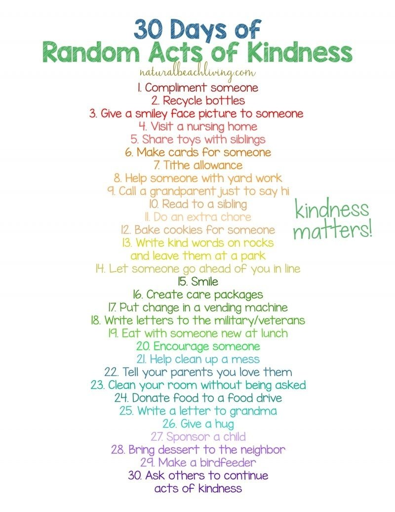 10 Stunning Random Acts Of Kindness Ideas For School 30 days of random acts of kindness ideas for kids natural beach living 3