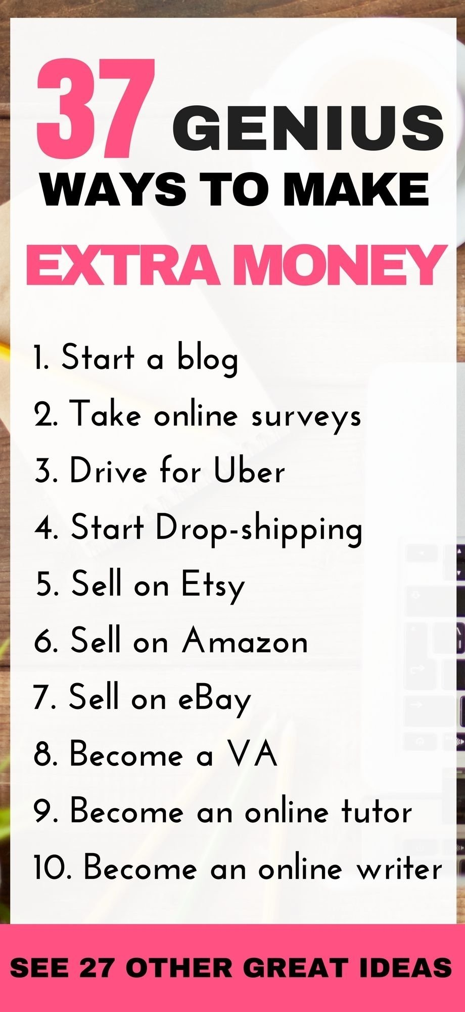 10 Fantastic Ideas To Earn Extra Money 30 genius ways to make extra money 1000 working from home 1 2020